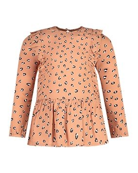 Peach long sleeve top with black and white leopard print and frill detailing