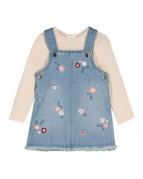 Light denim pinafore with pink and red floral embroidery, teamed with a pale pink, long sleeve top