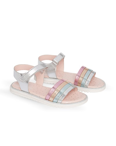 Sandals with metallic silver, light blue, orange and pink straps, and velcro silver ankle strap