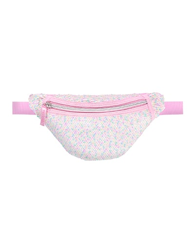 Bumbag with multicoloured sequins in pink, ivory, blue, green and purple, with marshmallow pink strap and zip