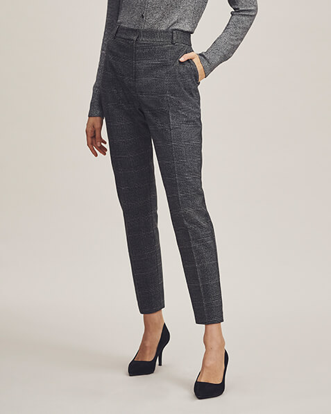 Dark grey trousers with feint light grey checks, pockets and belt loops