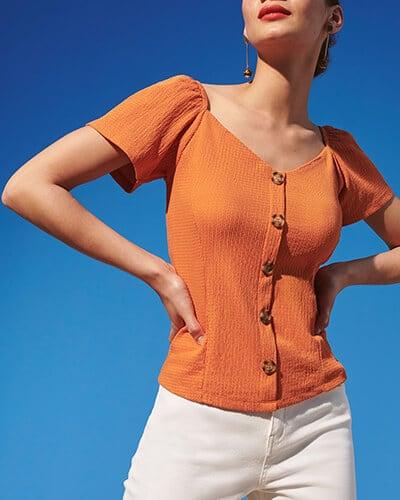 Short sleeve, button-through women's top