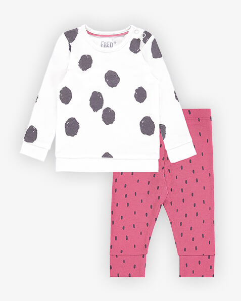White, long sleeve top with large grey circular splodges. Comes with fuchsia pink leggings with grey speck pattern