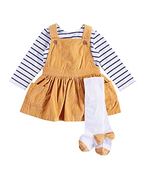 Ochre pinafore, white tights with ochre heels and toes, and long sleeve blue and white stripy top
