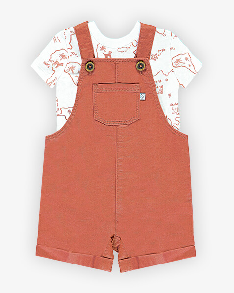 Dungaree shorts come with short sleeve, white top with rust brown jungle animal and palm tree line drawings