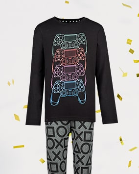 Long sleeve black pj top with neon green, red, pink and blue controllers graphic, and grey bottoms with black PlayStation shape outlines