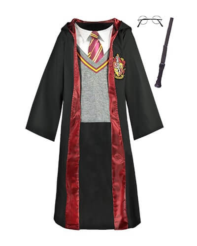 All-in-one, long sleeve, pullover Gryffindor costume with mock uniform print and attached cape. Comes with round glasses and wand