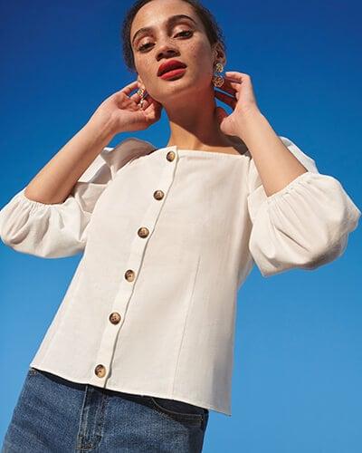 Off white, long sleeve, button-through women's top