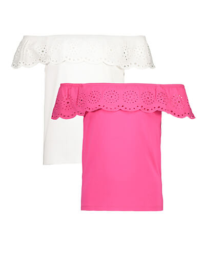 One bright pink and one white, off-the-shoulder tops with cut-out pattern to top layer
