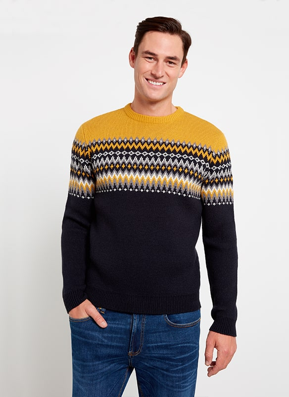 White, yellow and dark grey Fair Isle patterned jumper