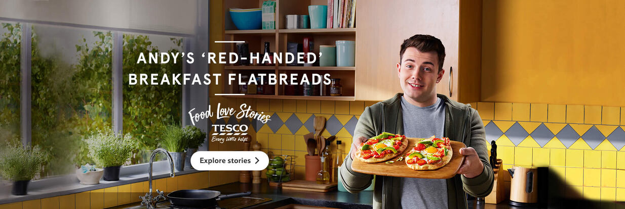 Tesco Food Love Stories Andy's red-handed breakfast flatbreads
