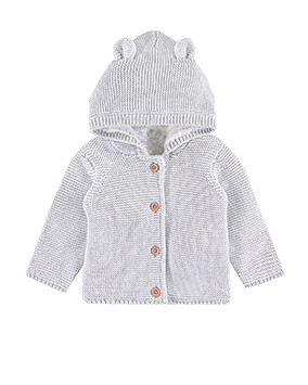 Grey hooded, button-through cardigan with little ears on hood