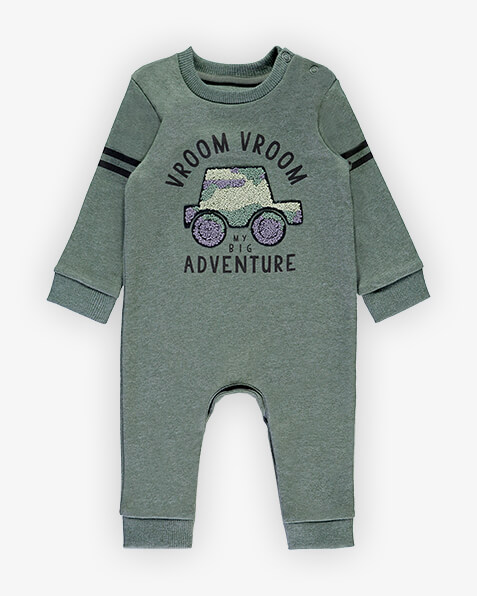 Dark grey, long sleeve sleepsuit with 2 black stripes on sleeves and textured car graphic on front, with the words vroom vroom, my big adventure