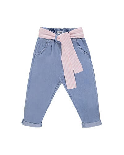Pale blue jeans with elasticated waist and pale pink and white stripe fabric tie-belt