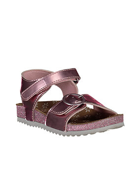 Metallic pink sandals with glittery soles
