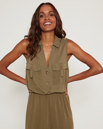 Sleeveless button up khaki playsuit