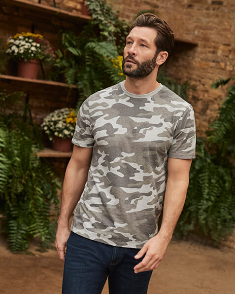 Khaki green and grey camouflage print T-shirt