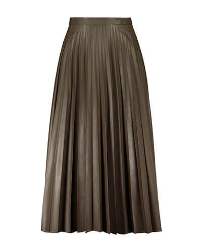 Mocha satin-finish skirt