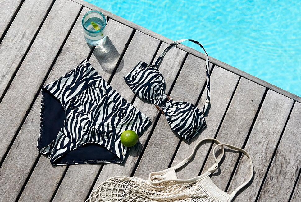 Zebra bandeau bikini top with matching high-waisted bottoms