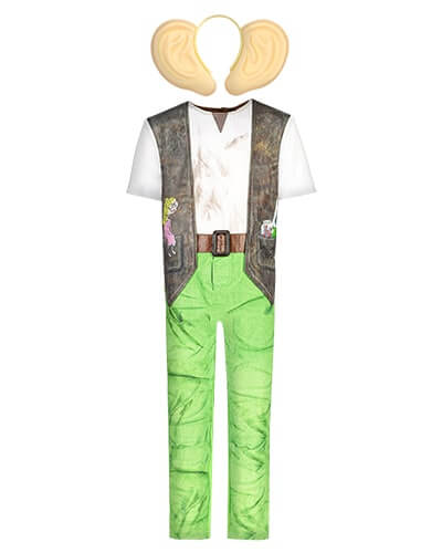 All-in-one, short sleeve costume with mock off-white top and brown waistcoat, mock brown belt and green trousers, with a print of Sophie sitting on one of the waistcoat pockets. Comes with large ears on a headband