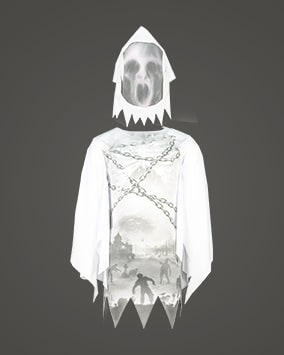 White top with loose long sleeves, jagged hems, and a spooky grey graveyard scene featuring zombie silhouettes and chains. Comes with a scary ghost face hood
