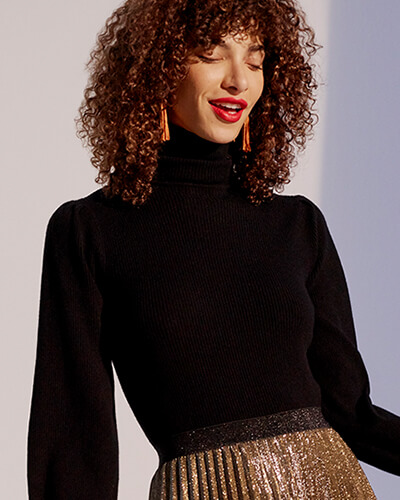 Black ribbed roll-neck jumper with balloon sleeves