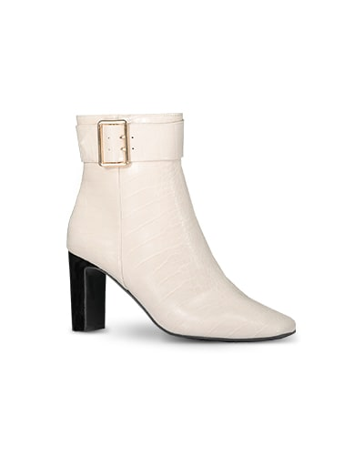 Chunky heel white boots with gold buckle detail