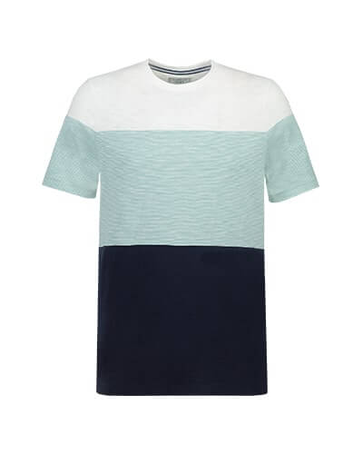 T-shirt with white yoke and aqua block stripe across chest and arms. Bottom half of T-shirt is black