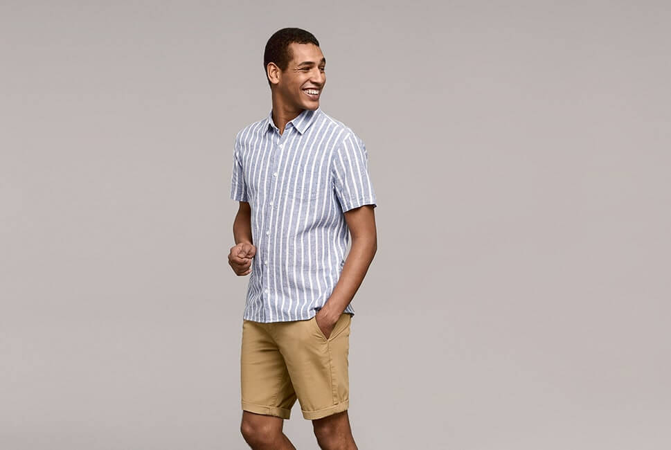 Short sleeve, pale blue and white stripe shirt