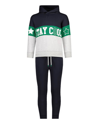Black, green and grey block stripe hoodie with the slogan 'stay cool' in white, and a white star shape on each arm