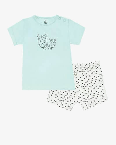 Light teal T-shirt with a black line drawing of a big and small leopard, with the words protect us. Shorts are pale grey with black leopard spots and WWF panda logo