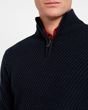 Navy diagonal stitch jumper with zip-up collar