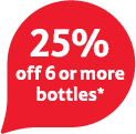 25% off 6 or more bottles
