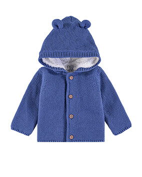 Navy hooded, button-through cardigan with little ears on hood