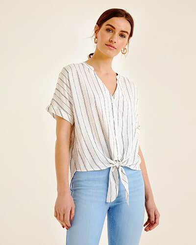 Short sleeve, loose-fitting, button-through tie-front blouse with thin black stripes