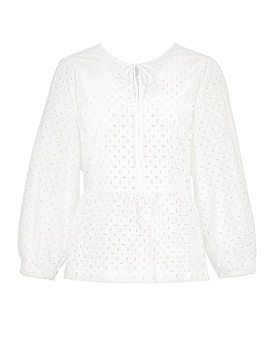 Long sleeve, loose-fitting, Schiffli lace pattern top with thin fabric tie at the neck