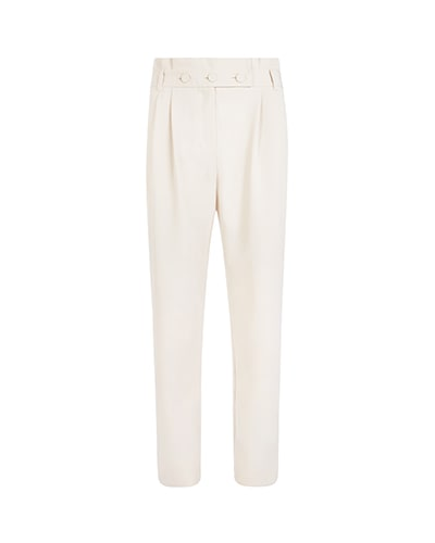White tailored trousers with white belt with three buttons across the front