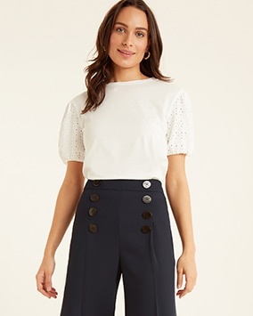 White top with broderie puff sleeves