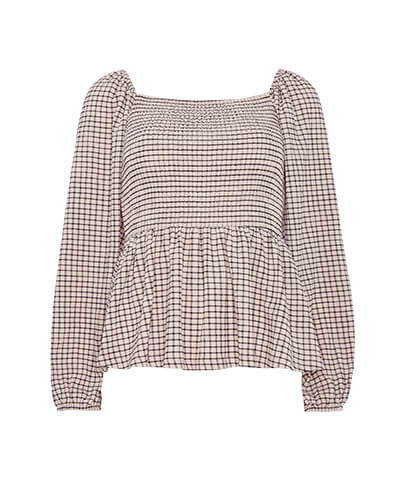 Long sleeve top with puffy sleeves and frilled hem