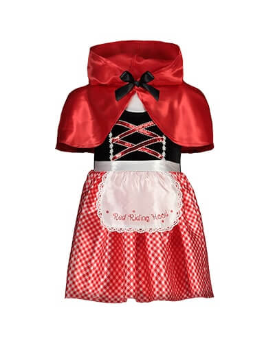 Short puff sleeve, knee length dress. Top half is white with mock black bodice and mock crossover lacing in red sequins. Skirt half is red and white check with a white lacey-edged apron, embroidered with words Red Riding Hood. Comes with a red, satiny hooded cape