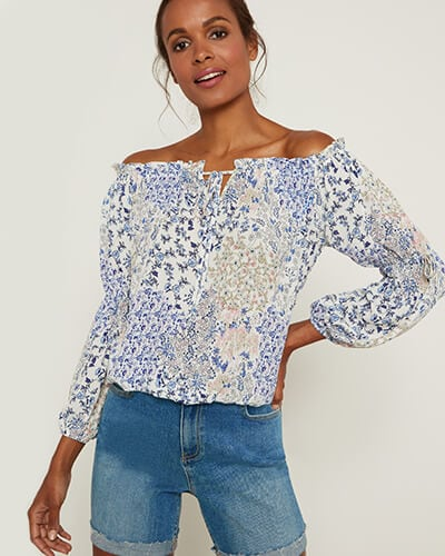 Blue pink and white floral off-the-shoulder top with tie details