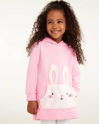 Marshmallow pink hoodie with cute white fleece bunny pockets