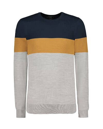 Lightweight jumper with navy yoke and ochre block stripe across chest and arms. Rest of jumper is light grey