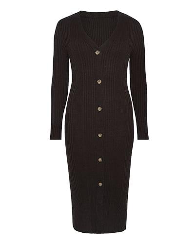 Black, longline, button through, ribbed jersey dress