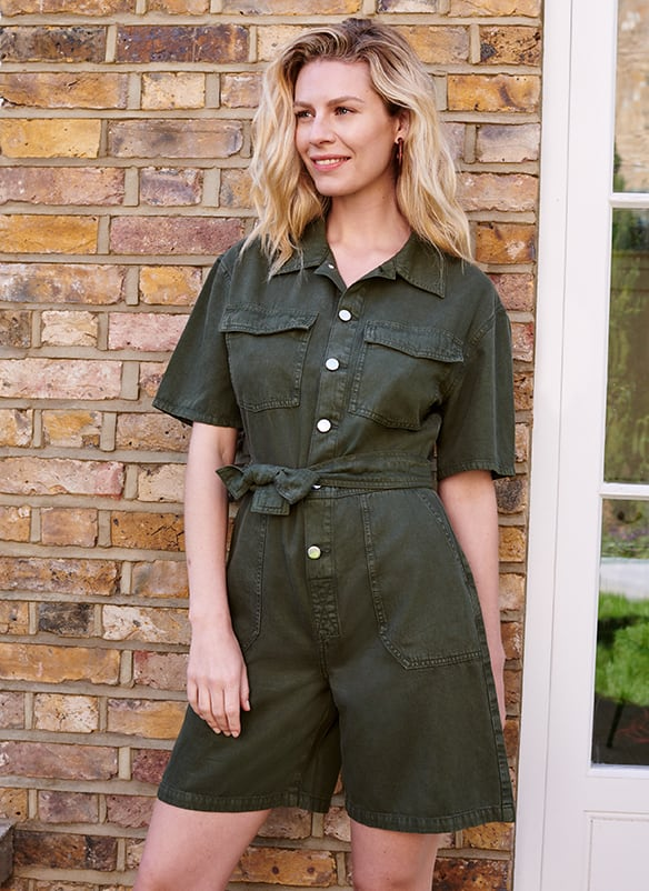 Olive short sleeve playsuit with tie waist