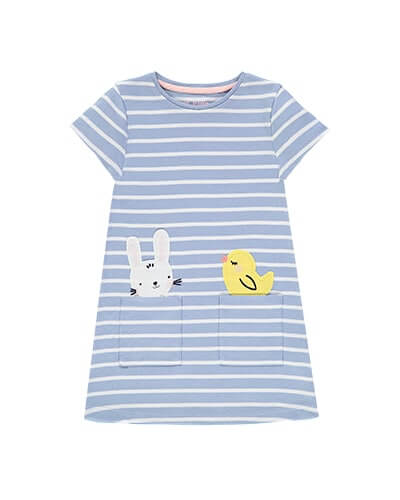 Light blue and white stripe T-shirt dress with cute white bunny head and yellow chick popping out of 2 pockets