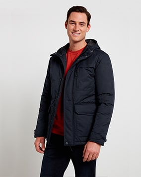 Navy waterproof hooded jacket with multiple pockets
