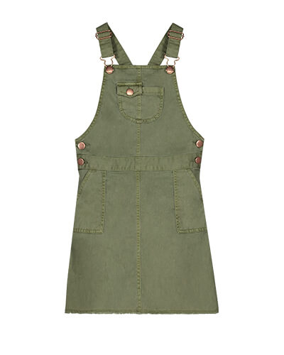 Pinafore with adjustable straps, side and chest pockets, and bronze poppers