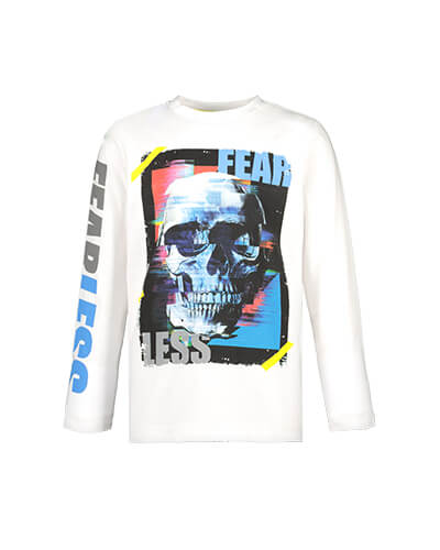 Long sleeve white top with skull print on front and the words 'fear less' on front, and right arm