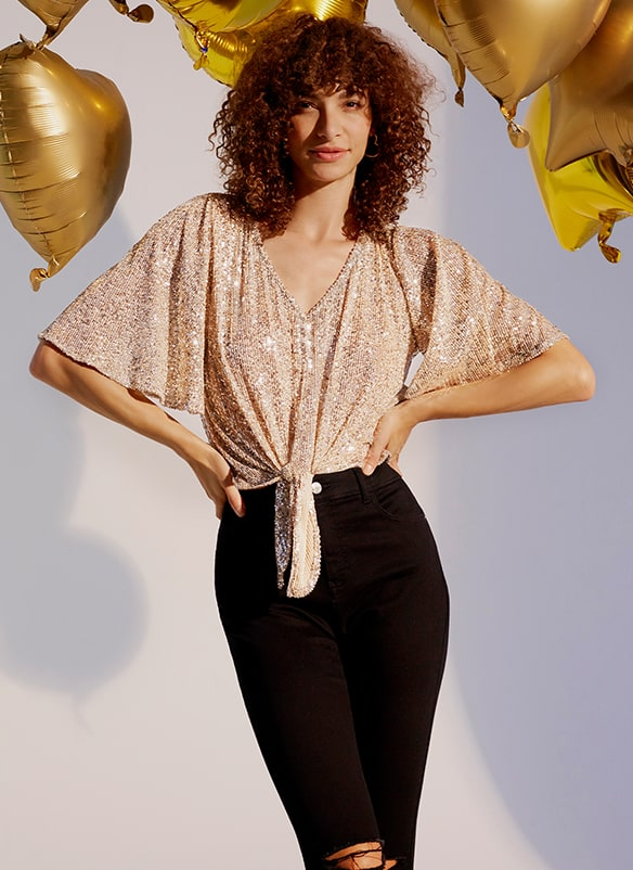 Gold sequin V-neck top with tie front and wide short sleeves